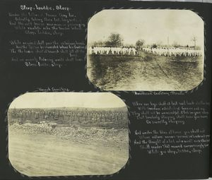 [Sleep, laddie, sleep (Poem); photographs depicting the American and French cemetries at Mesues.]
