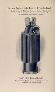 The Franklin engine cylinder; The 56 cooling flanges are an integral part of the Vanadium cast iron cylinder.