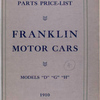 "Franklin motor cars: parts price-list; Models ""D"", ""G"", ""H"" [Front cover]."