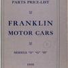 "Franklin motor cars: parts price-list; Models ""D"", ""G"", ""H"" [Front cover]."