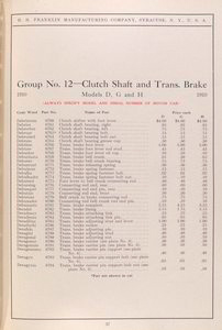 Group No. 12 - Clutch shaft and trans. brake; Models D, G and H [Parts price list].