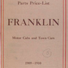 Franklin motor cabs and town cars: Parts price - list, 1909 - 1910 [Front cover].