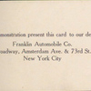 Franklin Automobile Co. card.[Background with Franklin trademark symbol.]