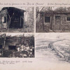 Huts built by Germans in the Bois de Chaume, no. one [top left photograph] camouflaged with moss ; Concrete machine gun nest, with large dugout forty ft. below.