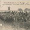 Sanitäts-Soldaten und Bagagewagen in Douai (Nordfrankr.) kurz vor dem Ausmarsch an die Front.