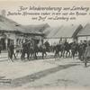 Zur Wiedereroberung von Lemberg. Deutsche Kürassiere ziehen in ein von den Russen verlassenes Dorf vor Lemberg ein.
