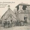 Aus dem Bialowieska Forst Russische Kirche in einem Dorfe, davor deutsche Reiterpatrouille.
