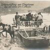 Ueberschiffung von Tragtieren über den weissen Drin in Albanien.