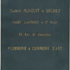 [Bookcloth (?) stamped with the words] Maison Monduit et Bechet, Gaget Gauthier et Cie. Succrs., 25 Rue de Chazelles, Plomberie et Cuivrerie d'Art.