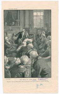 The trial of Aaron Burr. Chief Justice Marshall. [The picture represents William Wirt deivering his famous speech, parts f which are quoted in this article].