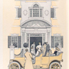 People in their Peerless automobile parked in front of their  mansion.]