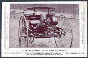 Actual photograph of the first automobile; Invented by Carl Benz Mannheim, Germany; First appearance on the streets of Mannheim, Oct. 25th, 1883.
