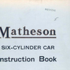 Matheson six-cylinder car: Instruction book [Front cover].