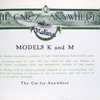 Moline; The car for anywhere; Models K and M [Title page].