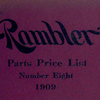 Rambler parts price list; Number eight, 1909 [Front cover].
