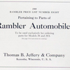 1909 Rambler price list number eight, pertaining to parts of Rambler automobiles; To be used exclusively for ordering parts for Models 34 and 34A [Title page].