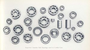 Imported annular ball bearings used in Corbin cars.