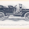 1909 Jenkins - four cylinder, 45 h.p. Touring car; Weight, 2750 lbs.; Price, $ 2750 with standard equipment, f.o.b Rochester, N.Y.