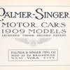 Palmer-Singer motor cars; 1909 models; Licensed under Selden patent [Title page].