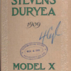 Stevens-Duryea, 1909; Model X [Front cover].