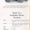 Model 22 a; Studebaker electric Runabout.