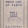 E.R. Thomas Motor Company; Illustrated price list of parts; Model L, 1909 [Front cover].