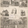 John Bunyan; Elstow Church; Bedford Gaol; Bunyan's house; Bunyan's chair; The new monument to John Bunyan, at Bedford, England. (The statue presented to the town by the Duke of Bedford.)