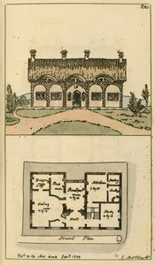Ground plan: Hall, eating room, dressing room, bed room, breakfast room, kitchen, pantry, scullery and study.