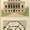 Ground plan: Hall, anti room, library, tea room, drawing room, study, dressing room and eating room.