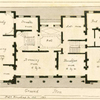 Ground plan: Hall, steward's room, study, dining room, tea room, drawing room, breakfast room, library, dressing room, bed room and anti room. (view of the house in P. XXXII)
