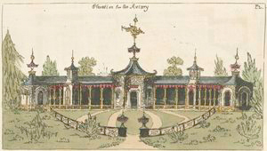 Elevation of an aviary.