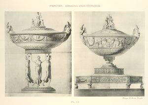[Empire style Vase Compotier on three figures and with flat bottom.]