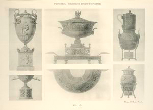 [Various dishes, platter and decanters engraved.]