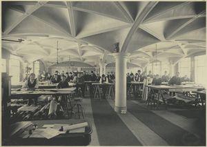 Draughting room; Hecla Iron Works, Brooklyn, New York, 1900.