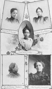 Miss Ella D. Barrier, teacher, also Secretary of Woman's Club in Washington, D.C.; Miss Emma Rose Williams, charming Creole teacher in New Orleans; Miss Hattie Gibbs, director of music in Washington public school; Mrs. J. Silone Yates, President of National Association, also teacher in Kansas City; Mrs. Hagdee Campbell, kindergarten teacher in St. Louis.