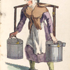Woman carrying the milk cans.]