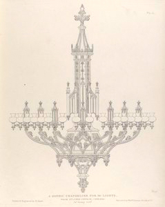 A Gothic chandelier for 30 lights.