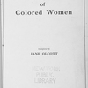 The work of colored women, compiled by Jane Olcott. [Title page]