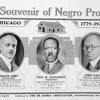 The Souvenir of Negro Progress, Chicago, 1779 - 1925; Adolph Osby, Treasurer, The De Saible Association, Inc.; Geo. W. Faulkner, President, The De Saible Association, Inc.; John Taitt, General Manager, The Saible Association, Inc.