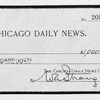 A.J. Carey, Jr.; The Chicago Daily News [1st prize check].