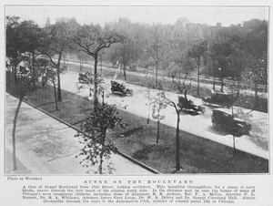 Scene on the boulevard; A view of Grand Boulevard from 35th Street, looking southwest.