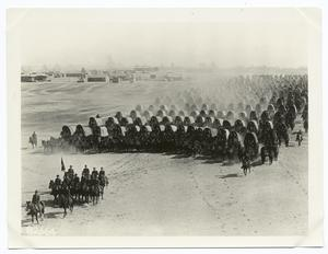 [Formation of horse-drawn wagons in a camp.]