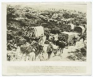 On their way in the Argonne. The march and countermarch of traffic back of the American lines in the Argonne, ammunition, guns and suppliers going forward, caissons, ambulances and empty trucks streaming