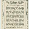 "The Wellman airship ""America,"" 1907."