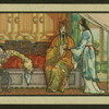 [Servant brings tea to man and woman in bed.]