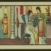 [Domestic scene, woman primping with handheld mirror.]