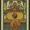 [Woman kneeling before man with attendants.]