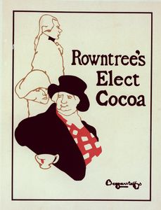 """Affiche anglaise pour le """"Rowntree's Elect Cocoa""""."""
