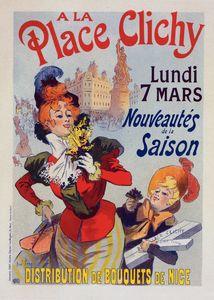 """Affiche pour les Magasins """"A la Place Clichy""""."""