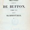 [Half Title page, v. 15] Oeuvres complètes de Buffon. Tome XV.  Mammifères. (2)
